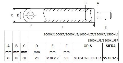 MBB Palfinger cilindar hidraulike